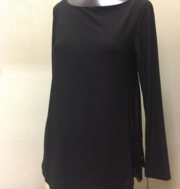 Last Tango Last Tango Long Sleeve Top W/ Back Chiffon Pleats  MS 1080
