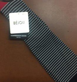 BèJoli Ladies Embroidered Knee High Compression Socks 9-11 Thin Stripe BBHCJ07-10018