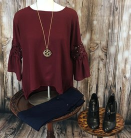 Solid Bell Sleeve Blouse