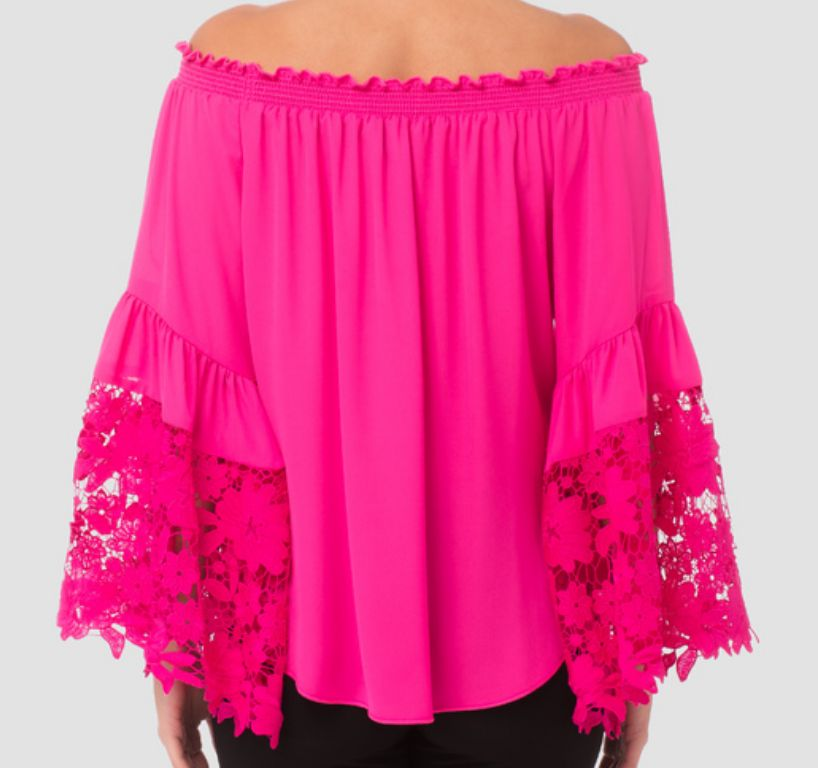 Lace Sleeve Peasant Neckine Top 173286