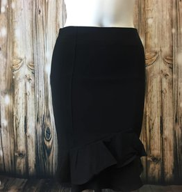 Fitted High Waisted Ruffle Pencil Skirt