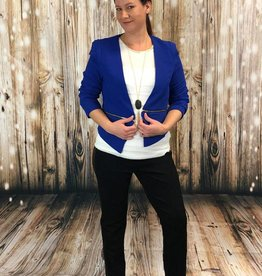 Solid Zipper Detail Cropped Open Blazer