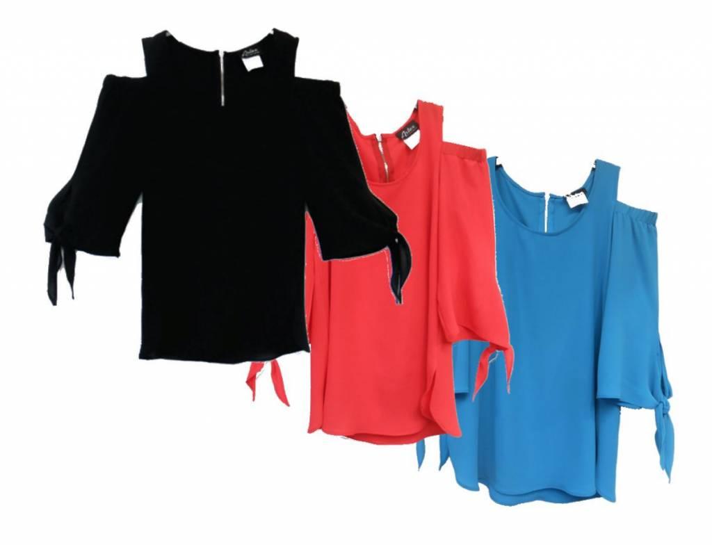 Artex Fashions Crepe Cold Shoulder Blouse