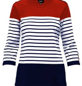 LINKS Links 3/4 Slv Stripe Top 411C
