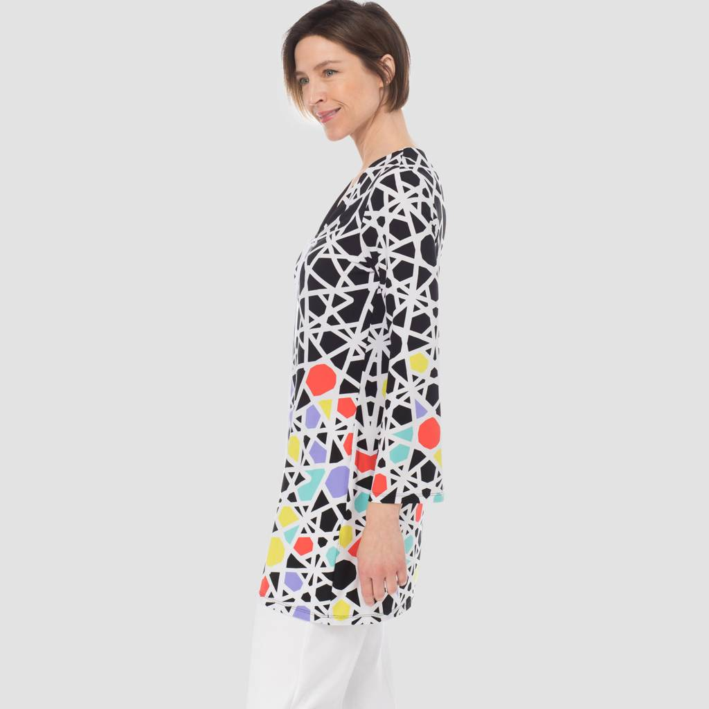 Joseph Ribkoff Ladies Tunic, Black/White/Multi 183575