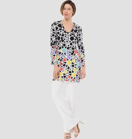 Ladies Tunic, Black/White/Multi 183575