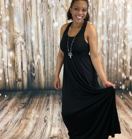 Eye Lash Black Maxi Dress