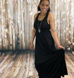 Eye Lash Black Maxi Dress