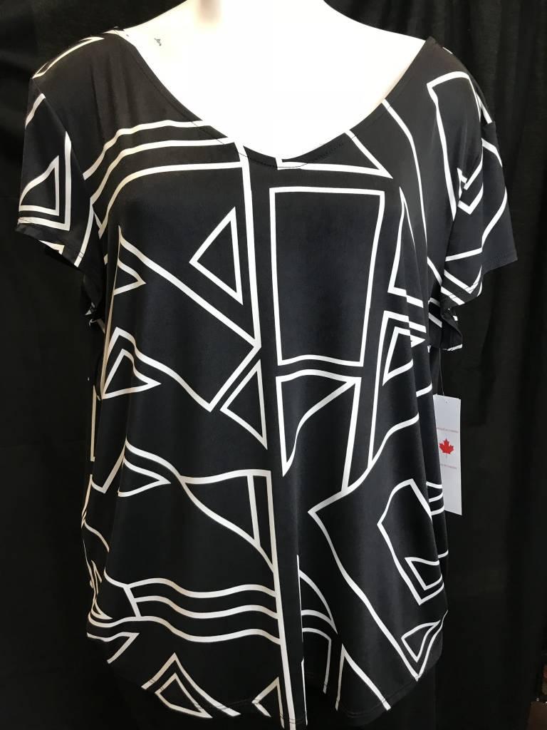 TRIBAL Cap Sleeve V Neck Top W/Bow 29610-2463