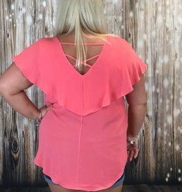 Coral Ruffle Panel Strappy Back Top