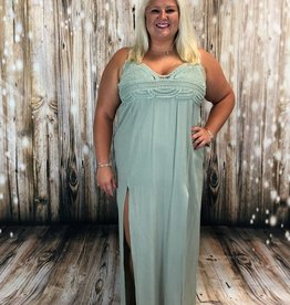 Solid Crochet Trim Bohemian Maxi Dress, Sage