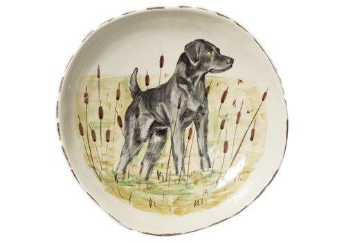 Vietri Wildlife Black Hunting Dog Lg. Serving Bowl - WDL-78032
