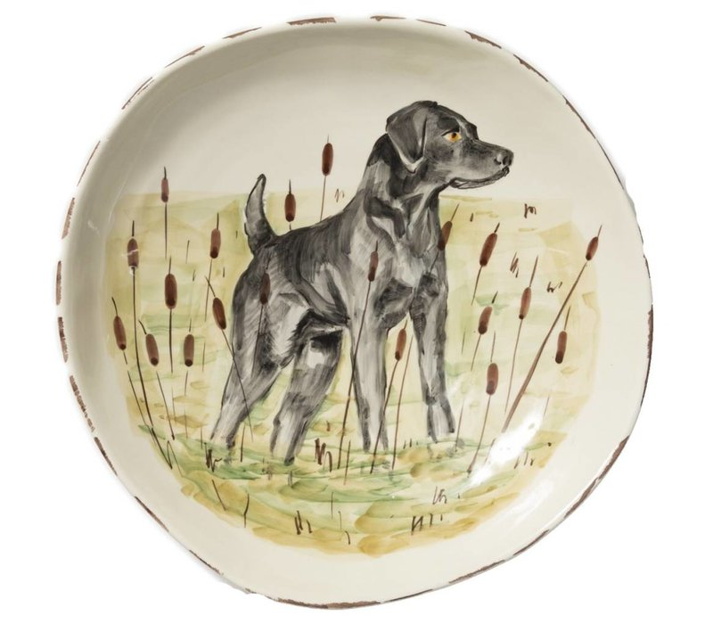 Wildlife Black Hunting Dog Lg. Serving Bowl - WDL-78032