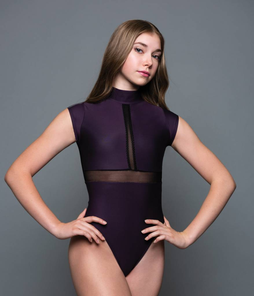 MotionWear 2968-Cap Sleeve Monk Neck Mesh Leotard