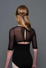 MotionWear 2669-497-Square Neck Half Sleeve leotard-BLACK-LC