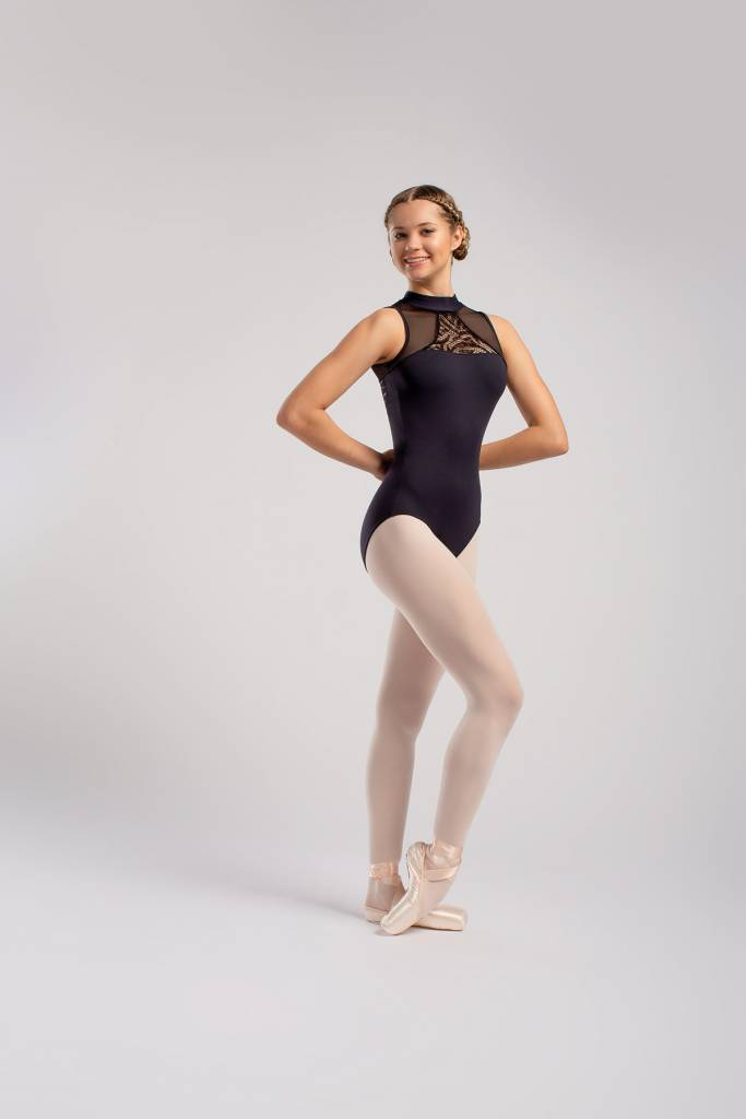 SoDanca RDE-1836-Mock neck Leotard Mesh And Lace Insert
