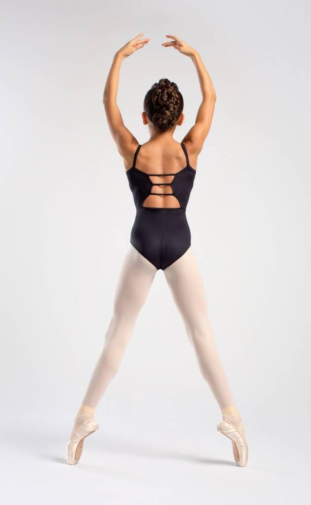 SoDanca RDE-1850-01-Camisole leotard Horizontal Straps-BLACK