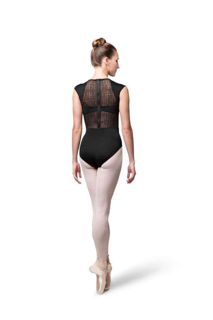 Bloch L9812-Layla Check Mesh Paneled Zipper Back Cap Sleeve leotard-BLACK-SMALL