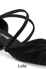 "Rummos LOLA-024-BL40-Ballroom Shoes cuban heel 1.5"" Suede Sole-BLACK NUBUCK"