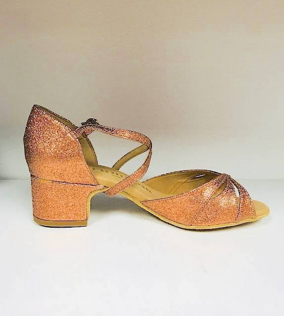 "Rummos LOLA-138-BL40-Ballroom Shoes cuban heel 1.5"" Suede Sole-GLITTER"