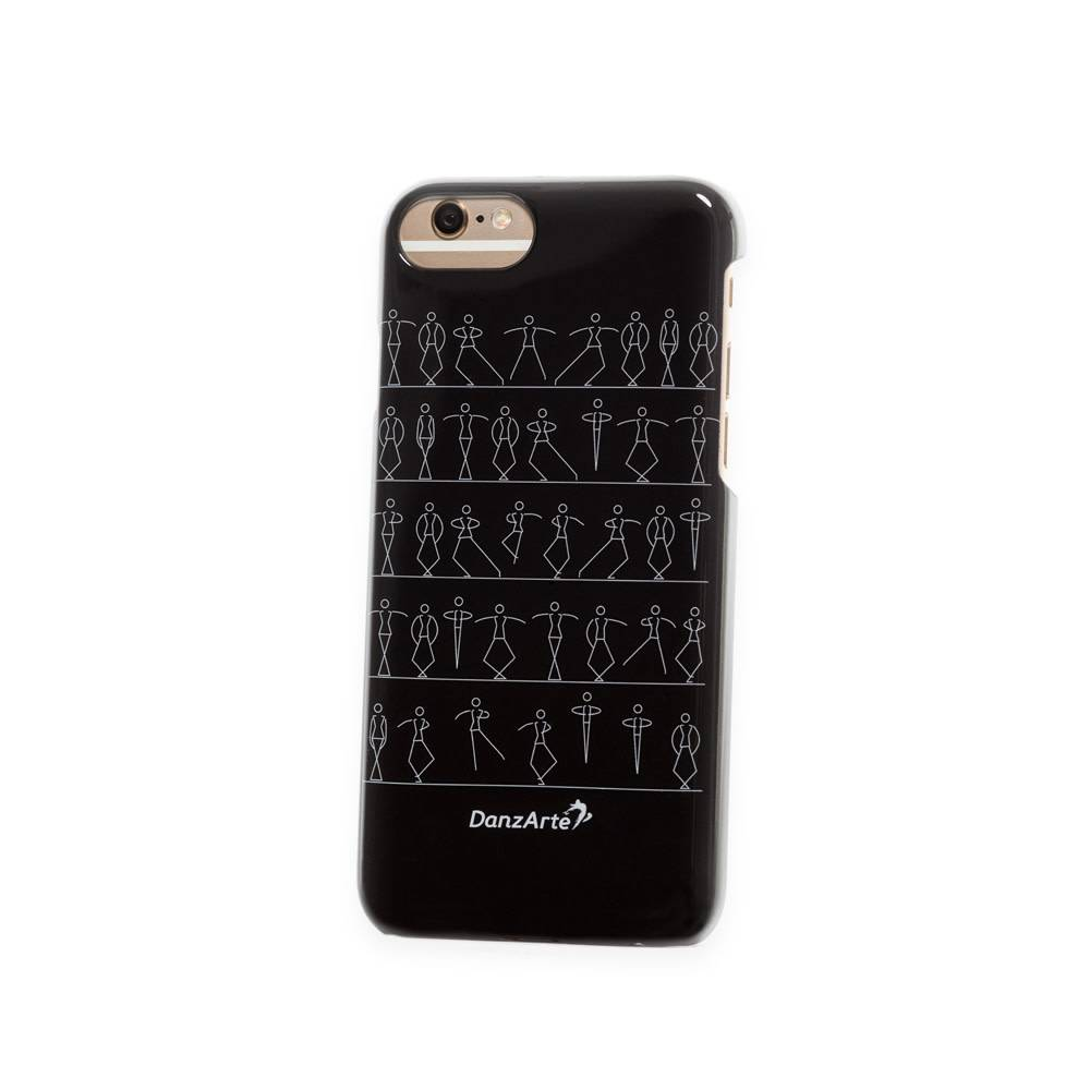 """DanzArte CA-IPH7B-GSF03-""""Stick Figures"""" iPhone 6/6S/7/8 Black Case"""