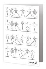"DanzArte GR-B6-MSF02-""Stick Figures Dancing"" Greeting card"