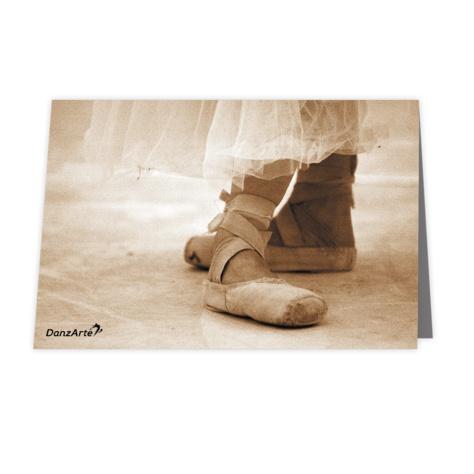 """DanzArte GR-B6-M07-""""Pointe Shoes Sepia"""" Greeting card"""