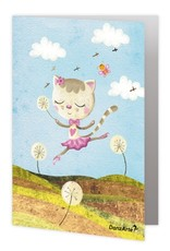 "DanzArte GR-B6-MPA02-""Dancing Cat On Meadow"" Greeting card"