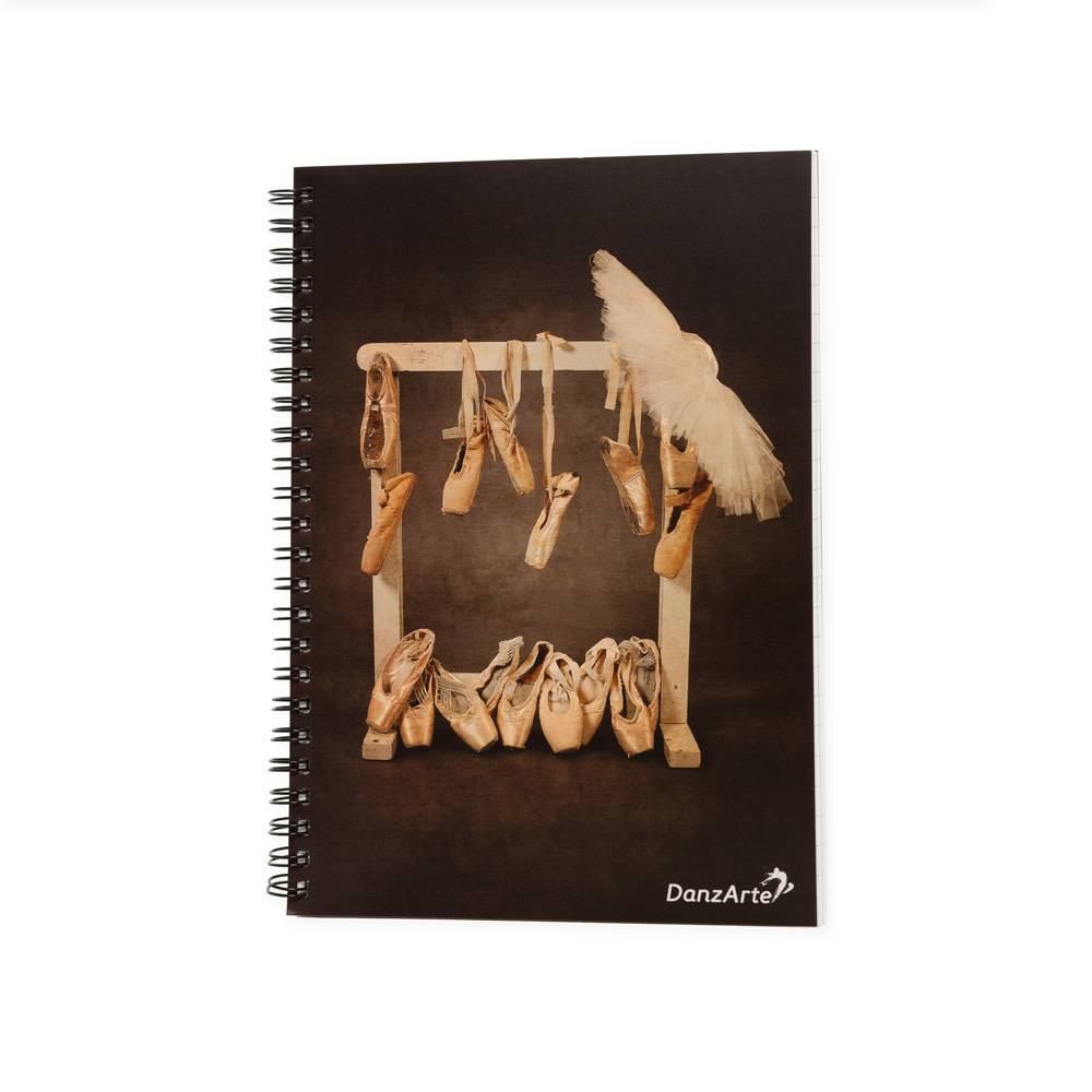 "DanzArte NO-SA5-M12-""Hanging Pointe Shoes"" A5 Laminated Spiral notebook"