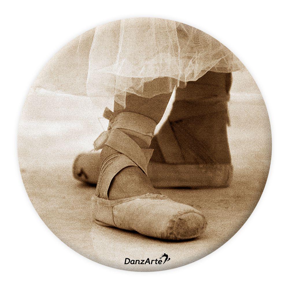 "DanzArte PM-G07-""Pointe Shoes Sepia"" Pocket Mirror"