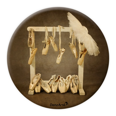 "DanzArte PM-G12-""Hanging Pointe Shoes"" Pocket Mirror"