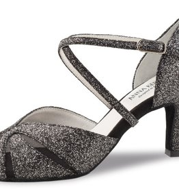 "Anna Kern 780-60-Ballroom Shoes 2.5"" Suede Sole Brocarte-SPARKLE BLACK"