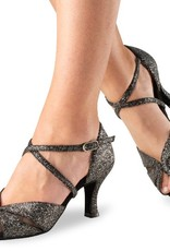 "Anna Kern 780-60-Ballroom Shoes 2.5"" Suede Sole Brocarte-SPARKLE BLACK"