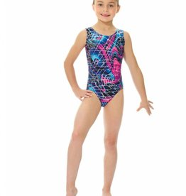Mondor 27822-T6-Gym Tank Leotard-BLUE SWIRLS