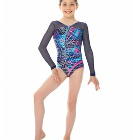 Mondor 17818-T6-Mesh Long Sleeve Gym Leotard-BLUE SWIRLS