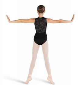Bloch CL4885-Penni-High Neck Floral mesh Tank leotard-BLACK