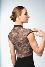 Bloch L9982-Lashay-Zipper Front Floral Print mesh Cap Sleeve-BLACK