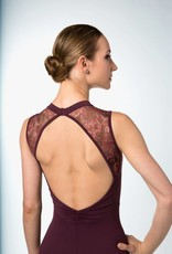 Bloch L9865-Nina-High Neck Floral Mesh Open V Back Leotard-SCARLET