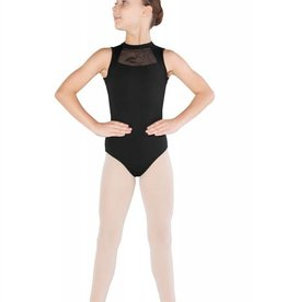 Mirella M1222C-High Neck Glitter Print Mesh Bow Back leotard-BLACK