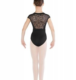 Mirella M1512C-Zipper Front Diamante Flower mesh Cap Sleeve leotard-BLACK-8-10