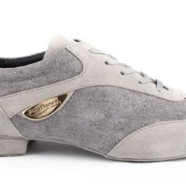 "Portdance PD07-Ballroom Shoes 1/2"" Suede Sole Denim-GREY"