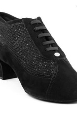 "Portdance PD701-Ballroom Shoes Cuban Heel 1.5"" Suede Sole Nubuck/Glitter-BLACK"
