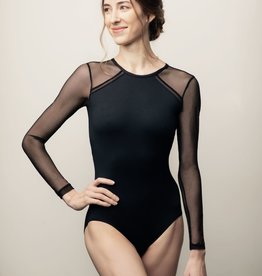 AinslieWear 177ME-Marcella Long Sleeve Leotard With Mesh-BLACK