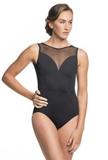 AinslieWear 1039ME-Bianca Tank Leotard With Mesh-BLACK