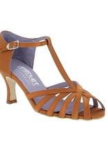 "Merlet SABINE-1720-301-Ballroom Shoes 2.5"" Suede Sole Satin-DARK TAN"