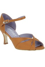 "Merlet SAPHIR-1720-301-Ballroom Shoes 2.5"" Suede Sole Satin-DARK TAN"
