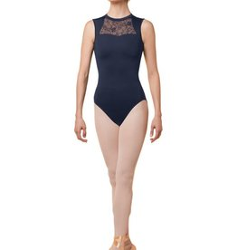 Mirella M3066LM-High Neck Open Bow Back Lace Leotard