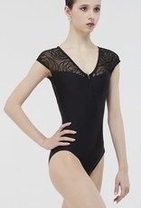 Wear Moi GRENAT-Cap Sleeve Leotard With Mesh Four-Way Stretch-BLACK