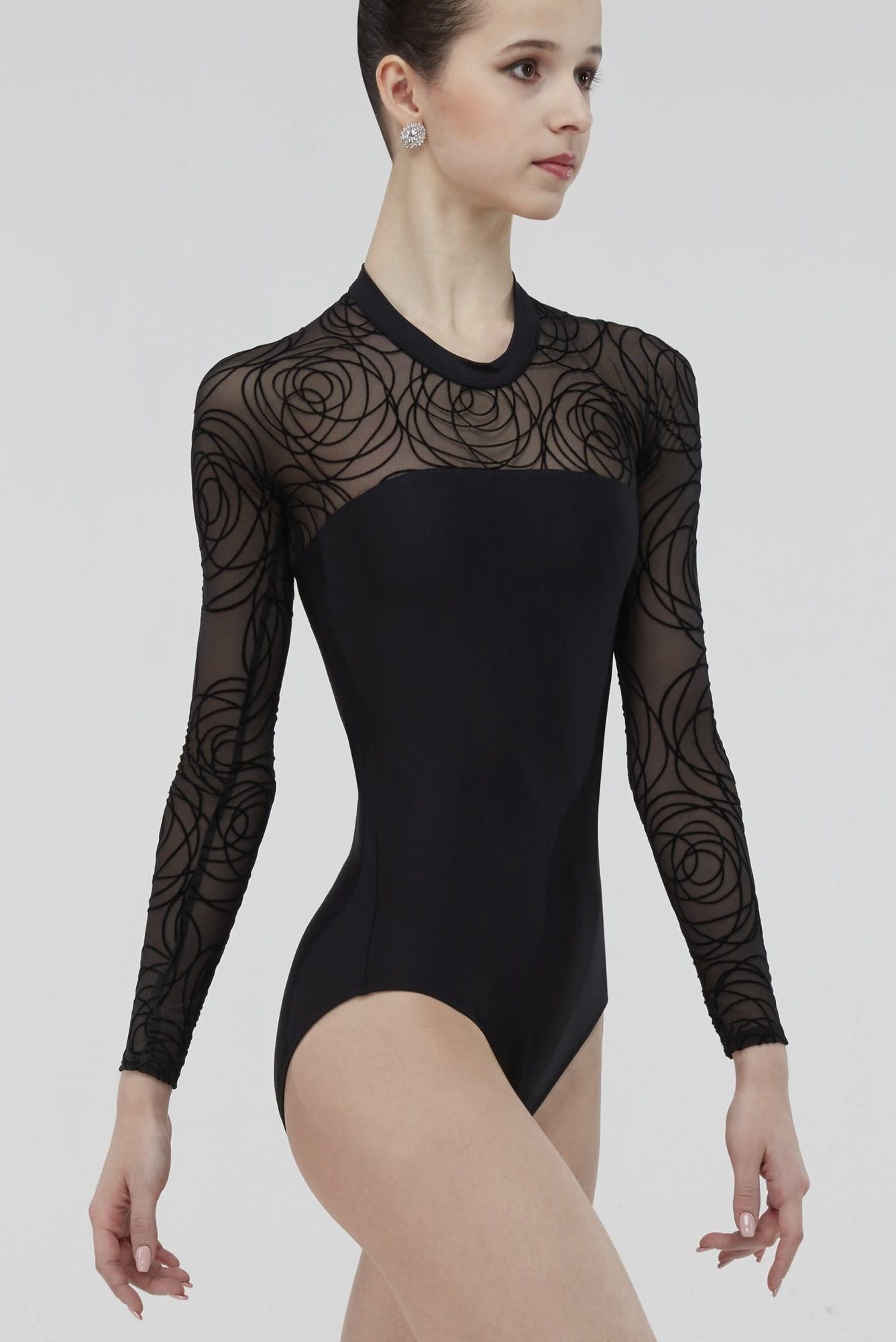 Wear Moi MERINGUE-High Neck Long-Sleeve Leotard Back Opening Flocked Velour Tulle-BLACK