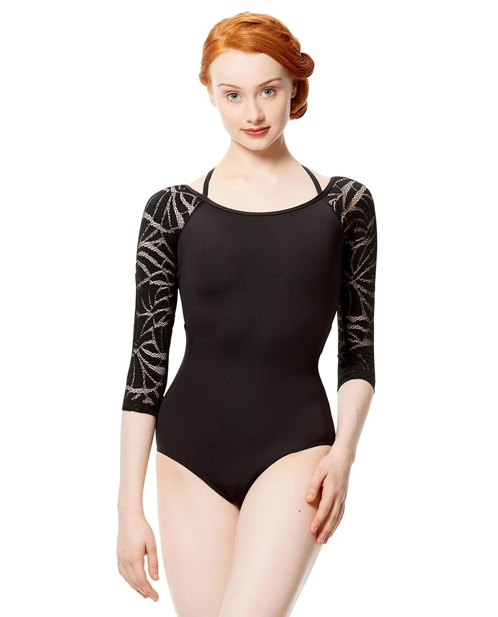 Lulli Dancewear LUF565-Women Geo Mesh 3/4 Sleeve Leotard